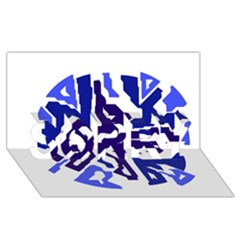 Deep Blue Abstraction Sorry 3d Greeting Card (8x4)