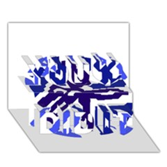 Deep Blue Abstraction You Did It 3d Greeting Card (7x5) by Valentinaart