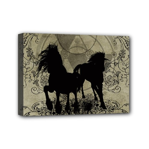 Wonderful Black Horses, With Floral Elements, Silhouette Mini Canvas 7  x 5  by FantasyWorld7