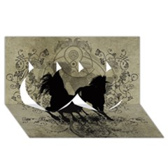 Wonderful Black Horses, With Floral Elements, Silhouette Twin Hearts 3d Greeting Card (8x4)