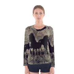 Wonderful Black Horses, With Floral Elements, Silhouette Women s Long Sleeve Tee