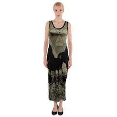 Wonderful Black Horses, With Floral Elements, Silhouette Fitted Maxi Dress by FantasyWorld7