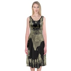 Wonderful Black Horses, With Floral Elements, Silhouette Midi Sleeveless Dress