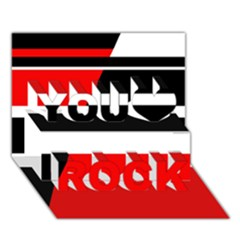 Red, White And Black Abstraction You Rock 3d Greeting Card (7x5)  by Valentinaart