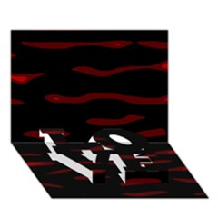 Red And Black Love Bottom 3d Greeting Card (7x5)  by Valentinaart