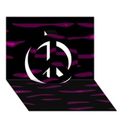 Purple and black Peace Sign 3D Greeting Card (7x5)  by Valentinaart