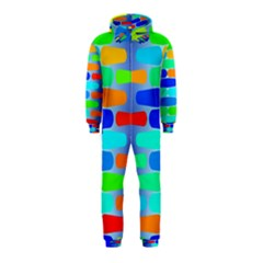 Colorful shapes on a blue background                                                                                       Hooded Jumpsuit (Kids) by LalyLauraFLM