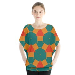 Honeycombs And Triangles Pattern             Batwing Chiffon Blouse