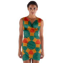 Honeycombs and triangles pattern                        Wrap Front Bodycon Dress by LalyLauraFLM