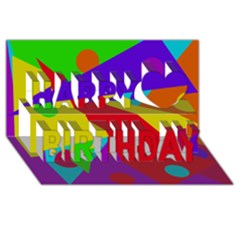 Colorful Abstract Design Happy Birthday 3d Greeting Card (8x4)  by Valentinaart
