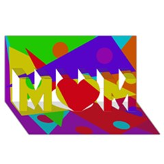 Colorful Abstract Design Mom 3d Greeting Card (8x4)