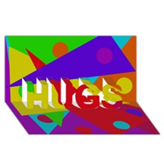 Colorful Abstract Design Hugs 3d Greeting Card (8x4)  by Valentinaart