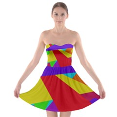 Colorful Abstract Design Strapless Dresses