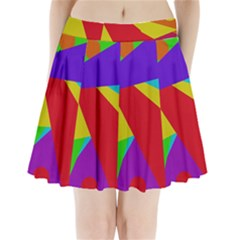 Colorful Abstract Design Pleated Mini Mesh Skirt