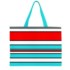 Blue, Red, And White Lines Zipper Large Tote Bag by Valentinaart