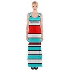 Blue, Red, And White Lines Maxi Thigh Split Dress by Valentinaart