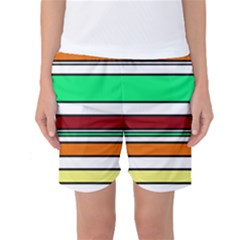 Green, orange and yellow lines Women s Basketball Shorts by Valentinaart