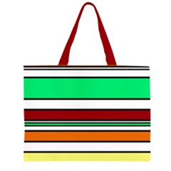 Green, Orange And Yellow Lines Zipper Large Tote Bag by Valentinaart