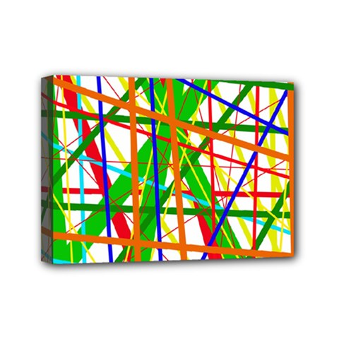 Colorful Lines Mini Canvas 7  X 5  by Valentinaart