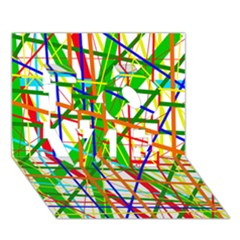 Colorful Lines Love 3d Greeting Card (7x5)  by Valentinaart