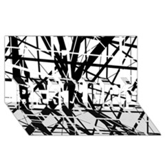Black And White Abstract Design Best Bro 3d Greeting Card (8x4)  by Valentinaart