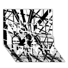 Black And White Abstract Design You Rock 3d Greeting Card (7x5)  by Valentinaart