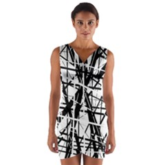 Black and white abstract design Wrap Front Bodycon Dress by Valentinaart