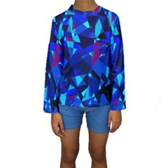 Blue Broken Glass Kid s Long Sleeve Swimwear