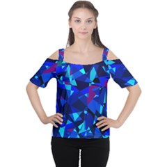 Blue Broken Glass Women s Cutout Shoulder Tee by Valentinaart