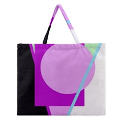 Purple Geometric Design Zipper Large Tote Bag by Valentinaart