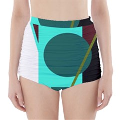 Geometric Abstract Design High Waisted Bikini Bottoms by Valentinaart