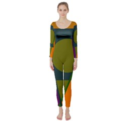 Geometric Abstraction Long Sleeve Catsuit by Valentinaart