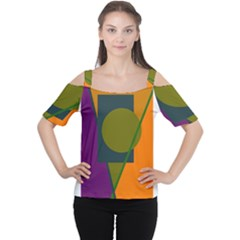 Geometric Abstraction Women s Cutout Shoulder Tee by Valentinaart