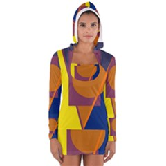 Geometric Abstract Desing Women s Long Sleeve Hooded T Shirt