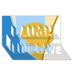 Blue and yellow abstract design Laugh Live Love 3D Greeting Card (8x4)  by Valentinaart