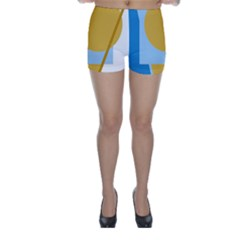 Blue and yellow abstract design Skinny Shorts by Valentinaart