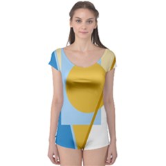 Blue And Yellow Abstract Design Boyleg Leotard  by Valentinaart