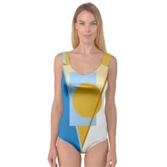 Blue And Yellow Abstract Design Princess Tank Leotard
