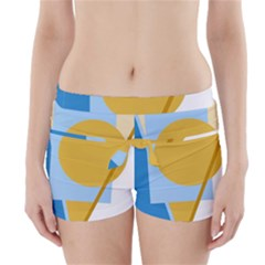Blue And Yellow Abstract Design Boyleg Bikini Wrap Bottoms