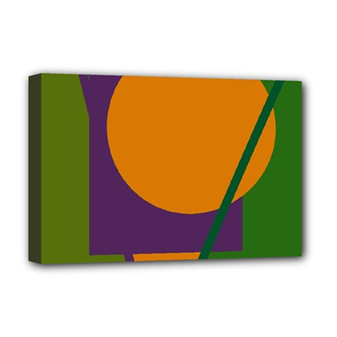 Green And Orange Geometric Design Deluxe Canvas 18  X 12   by Valentinaart
