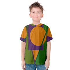 Green And Orange Geometric Design Kid s Cotton Tee by Valentinaart