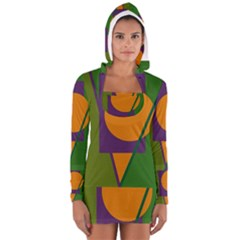 Green And Orange Geometric Design Women s Long Sleeve Hooded T Shirt