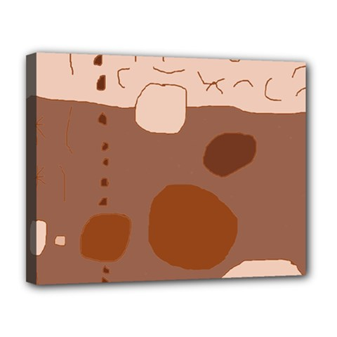 Brown Abstract Design Canvas 14  X 11  by Valentinaart