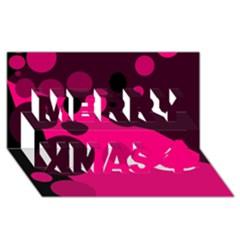 Pink Dots Merry Xmas 3d Greeting Card (8x4)
