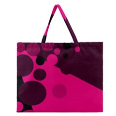 Pink Dots Zipper Large Tote Bag by Valentinaart