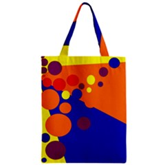 Blue And Orange Dots Zipper Classic Tote Bag by Valentinaart