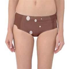 Brown abstract design Mid-Waist Bikini Bottoms by Valentinaart