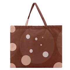Brown Abstract Design Zipper Large Tote Bag by Valentinaart