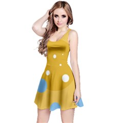 Blue And Yellow Moon Reversible Sleeveless Dress by Valentinaart