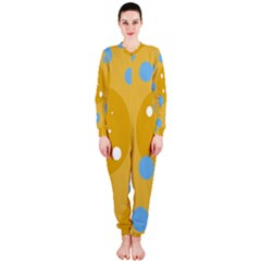 Blue And Yellow Moon Onepiece Jumpsuit (ladies)  by Valentinaart